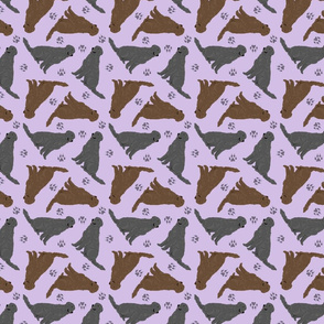 Tiny Flat Coated Retrievers - purple