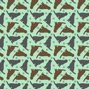 Tiny Flat Coated Retrievers - green