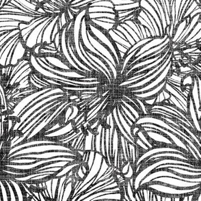 big tropical floral in black and white on linen