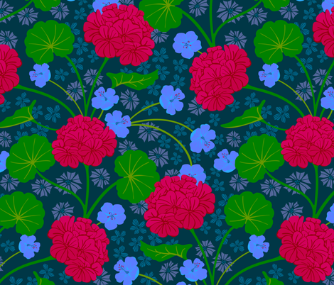 Geranium Moody Florals Deep Red Purple Green Dark Blue fabric by unblinkstudio-by-jackietahara on Spoonflower - custom fabric