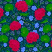 Geranium Moody Florals Deep Red Purple Green Dark Blue
