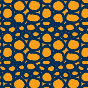 inky circles on mustard