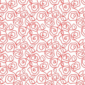 Freestyle Red Roses on White