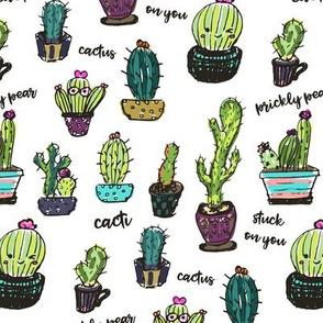 Cute Cactus White