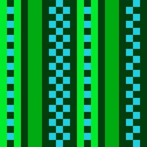 Jazzy Checked Stripes in Forest Green - Lime - Aqua