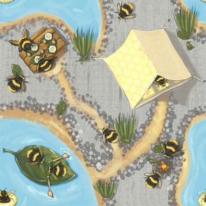 Widdle Bitty Bees-Lakeside Camping Fishing Trip//Grey