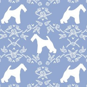 wire fox terrier dog silhouette fabric, dog silhouette fabric, dog fabric, wire fox terrier fabric, dog floral - cerulean