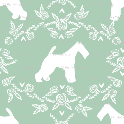 wire fox terrier dog silhouette fabric, dog silhouette fabric, dog fabric, wire fox terrier fabric, dog floral - mint