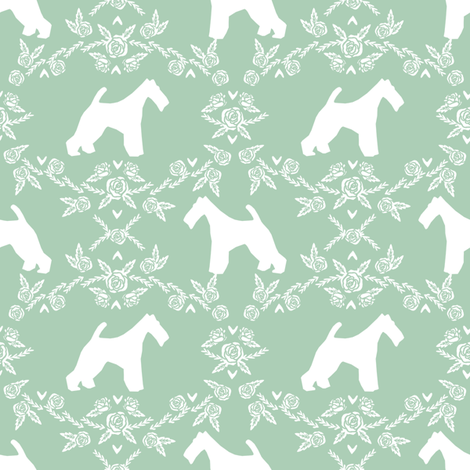 wire fox terrier dog silhouette fabric, dog silhouette fabric, dog fabric, wire fox terrier fabric, dog floral - mint fabric by petfriendly on Spoonflower - custom fabric