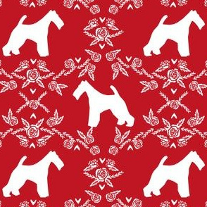wire fox terrier dog silhouette fabric, dog silhouette fabric, dog fabric, wire fox terrier fabric, dog floral - red