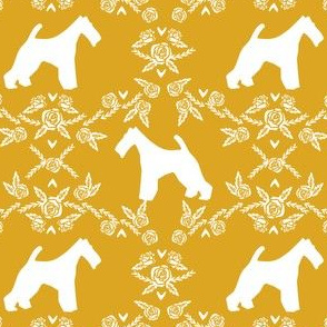 wire fox terrier dog silhouette fabric, dog silhouette fabric, dog fabric, wire fox terrier fabric, dog floral -mustard