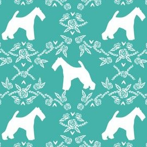 wire fox terrier dog silhouette fabric, dog silhouette fabric, dog fabric, wire fox terrier fabric, dog floral - turquoise