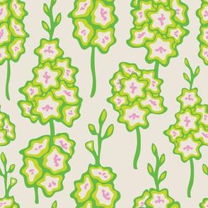 Fresh Garden Gladiolus Floral Green Pink Cream