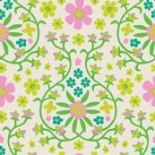 Garden Fresh Floral Botanical Ogee Pink Green Blue