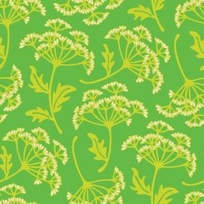 Fresh Garden Queen Anne's Lace Floral Green Cream
