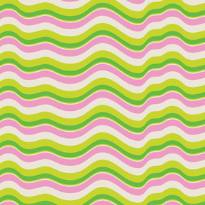 Wavy Stripes Abstract Pink Green Cream