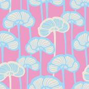 Fresh Garden Poppies Pink Blue White Stripes
