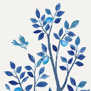 Citrus Grove Lemon Tree Panel A- Vibrant Blues