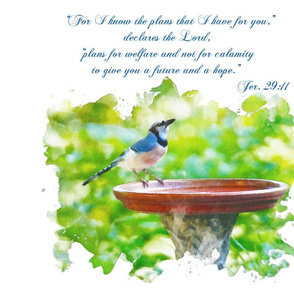 Affirmation Blue Jay and Scripture wall - hanging