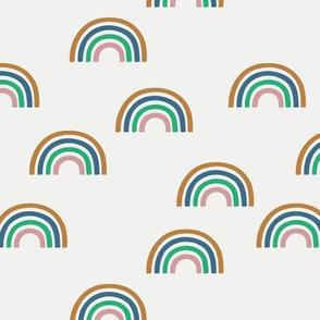 Scattered rainbow on plain light grey baby nursery kids