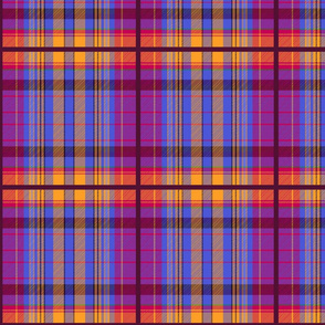 Tartan #26 - red, purple, blue, yellow, orange