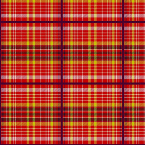 Tartan #29 - flame red, yellow, white, mahogany