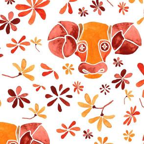 Aries orange watercolor pattern