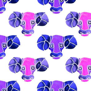 Aries purple and pink watercolor pattern