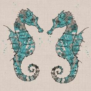 seahorse antique map texture