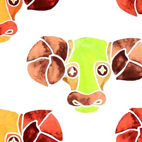 Aries in green and orange fabric by nacaca on Spoonflower - custom fabric