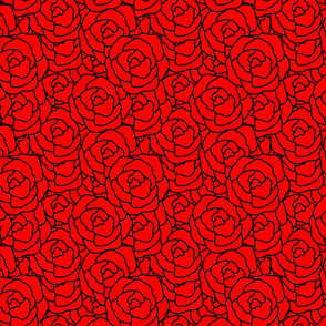Black Abrstract Roses on Red