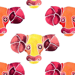 Aries in yellow and red