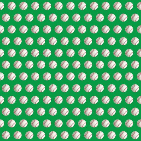 Green Half Inch Baseballs fabric by smallbatchboutique on Spoonflower - custom fabric