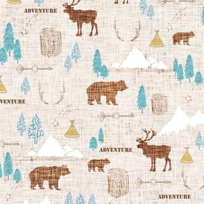 Woodlands Adventure - Brown Linen