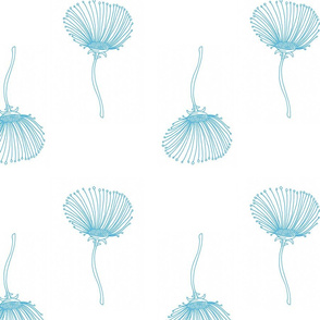 Sea Blue Delicate Modern Flowers for Home Decor or Clothing