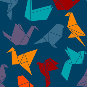 Maximalist Origami Birds in Navy
