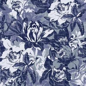 big tropical florals in bluish gray