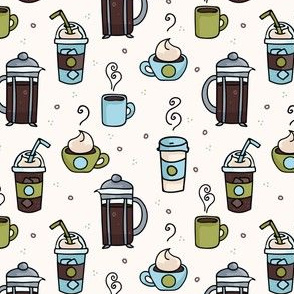 Vector coffee seamless repeat pattern illustration different caffeine drinks