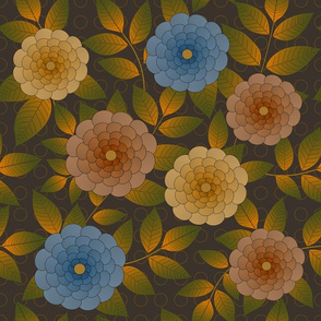 Oval Flowers on Brown