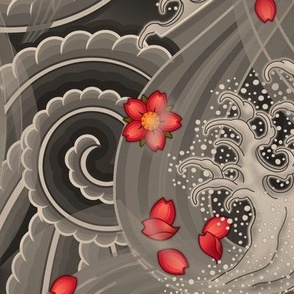 ★ SAKURA ★ Red Cherry Blossom Japanese Tattoo / Vintage Sepia - Jumbo Scale / Collection : Irezumi - Japanese Tattoo Prints