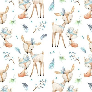 Tribal Woodland Friends - Animals Deer Fox Blue Feathers, Boys Nursery Bedding