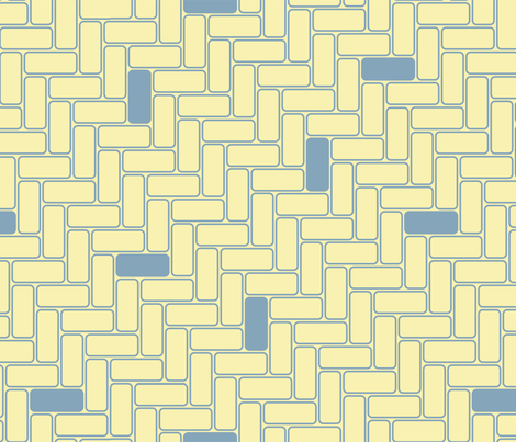 minimal maximal blocks - blue on lemon fabric by groundnut_apiary on Spoonflower - custom fabric