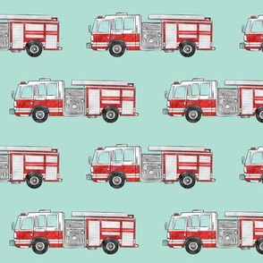 watercolor firetrucks (aqua) - LAD19