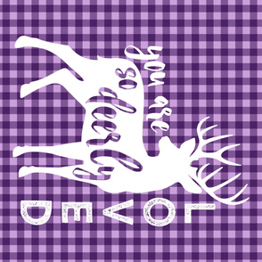 MINKY yard  - purple plaid - you are so deerly loved - buck - woodland nursery - LAD19