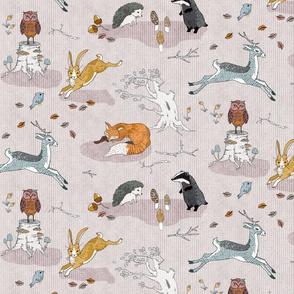 Foxes on Copses + Hogs Under Hedges (blush) MED