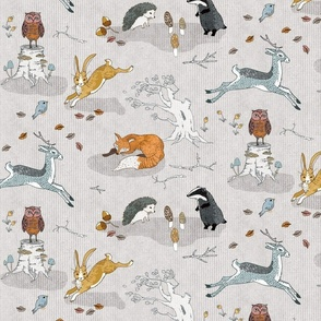 Foxes on Copses + Hogs Under Hedges (cream) MED