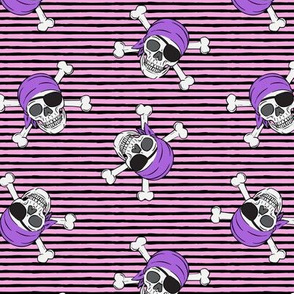 pirates - skull and cross bone - pink and black stripes - LAD19