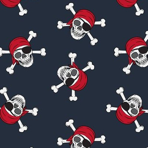 pirates - skull and cross bone - dark blue - LAD19