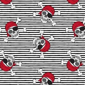 pirates - skull and cross bone - black stripes - LAD19