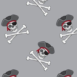 pirates - skull and cross bone - grey 2 - LAD19